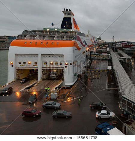 Helsinki, Finland - October 27 : The Ferry Boat Tallink Is Moored At The Mooring In Port Of The City