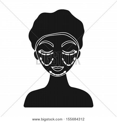 Cosmetic plastic surgery icon in black style isolated on white background. Skin care symbol vector illustration.