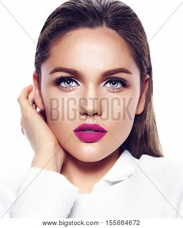 High fashion look.glamor closeup portrait of beautiful sexy stylish brunette business young woman model with bright makeup with red lips in white coat jacket