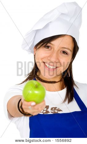 Female Chef With An Apple