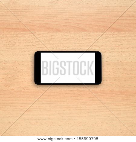 Smartphone on office desk with blank screen. Horizontal view