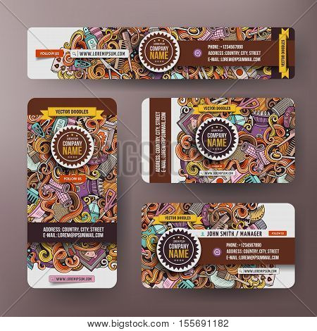 Corporate Identity vector templates set design with doodles hand drawn Hairdresser theme. Colorful banner, id cards, flayer design. Templates set