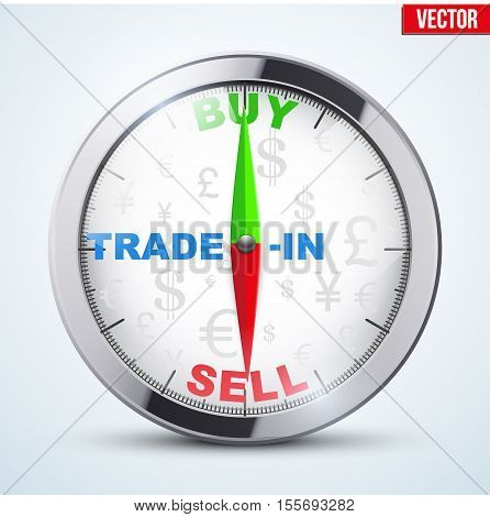 Compass for forex trader. Symbol of Time to trading. Buy or Sell. Editable Vector Illustration isolated on white background.