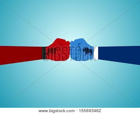 Two Fist With Bull And Bear Icon Emblems. Concept Business Illustration. Vector Flat