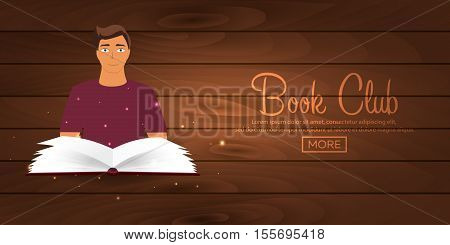 Book Club. Reading Club. Open Book With Mystic Bright Light. Vector Illustration.