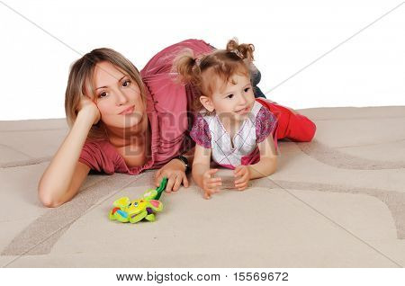 Young charming mother and her young daughter spent time together