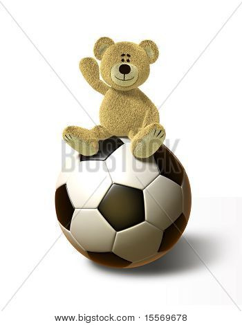 Teddy Bear sits on a big Soccer Ball