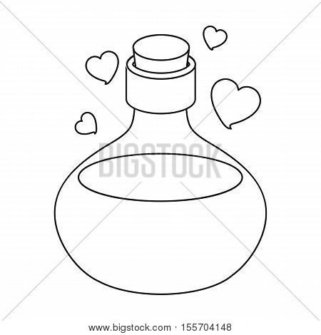Love potion icon in outline style isolated on white background. Black and white magic symbol vector illustration.