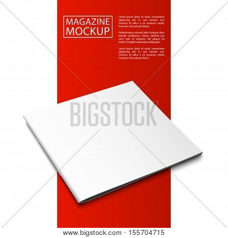 Blank magazine mockup template. Closed magazine. Red Line series. Realistic vector EPS10 illustration.