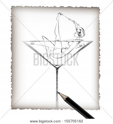 white background, black pencil, sheet of white paper and the image of abstract bathing dame