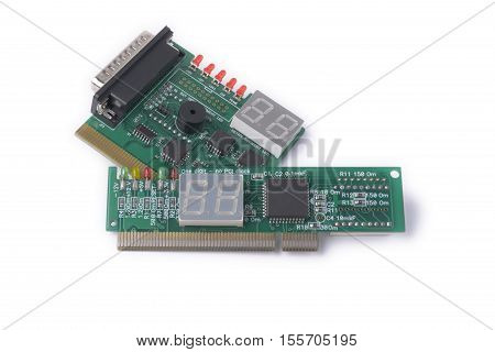 PCI diferent devices for testing of motherboards on a white background PC Diagnostics