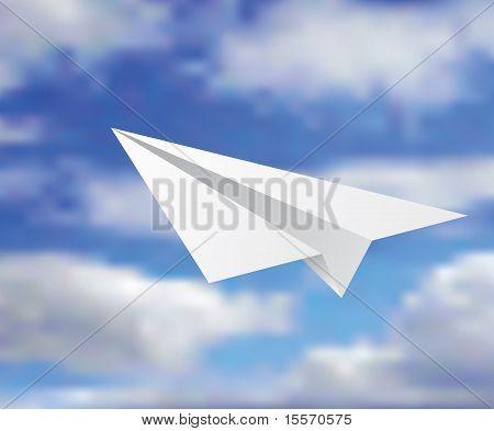 Paper Plane In Clouds