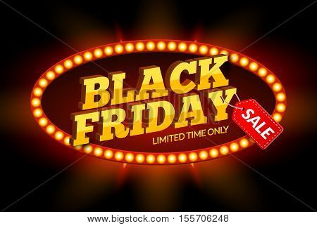Black Friday SALE frame design template. Black friday discount retro banner with neon sign light frame. Vector illustration.