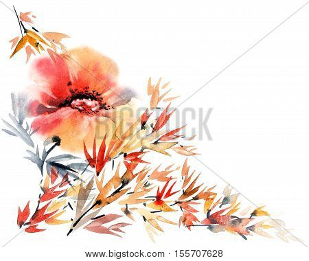 Watercolor and ink illustration of flower in style sumi-e u-sin. Hand painted artistic background for greeting card or invitation.