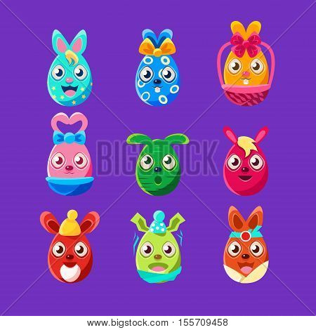 Easter Egg Shaped Easter Bunnies Colorful Girly Sticker Set Of Religious Holiday Symbols. Adorable Rabbits As Christian Holiday Traditional Decoration.