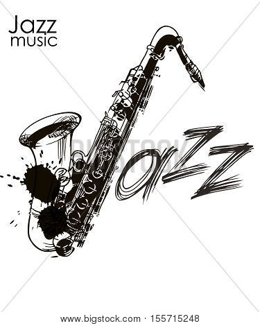 Jazz lettering. Jazz festival. Music poster. Calligraphy. Lettering. Isolated vector illustration on a white background.