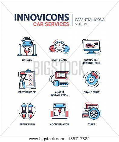 Car Services - set of modern vector thin line flat design icons and pictograms. Garage, dashboard, computer diagnostics, best service, alarm installation, brake shoe, spark plug, accumulator, tires