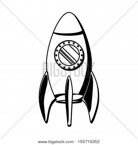 black silhouette spaceship with round hatch vector illustration