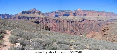 Mountains And Dry Vegetation, Grand Canyon National Park, United States, Panorama