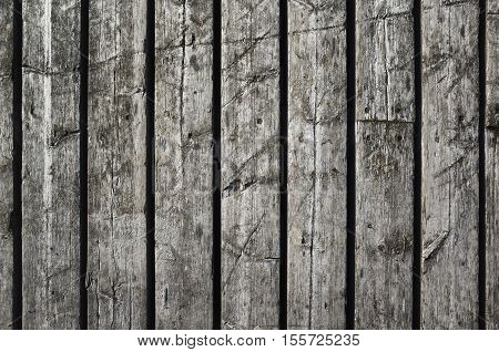 Old Dark Grungy Wooden Wall, Flat Photo Texture