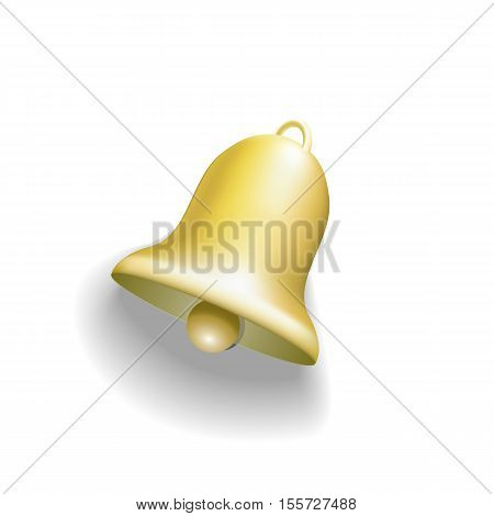 Real Golden bell isolated on white. Vector illustration.