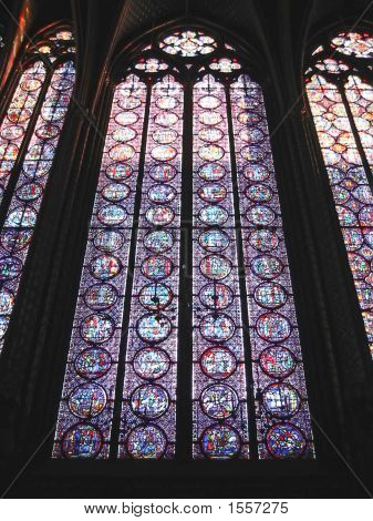 Stained Glass Window In A Church, Sainte Chapelle, Notre Dame De Paris, Paris, France