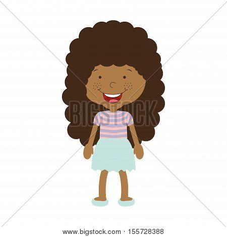 silhouette afro girl with skirt vector illustration