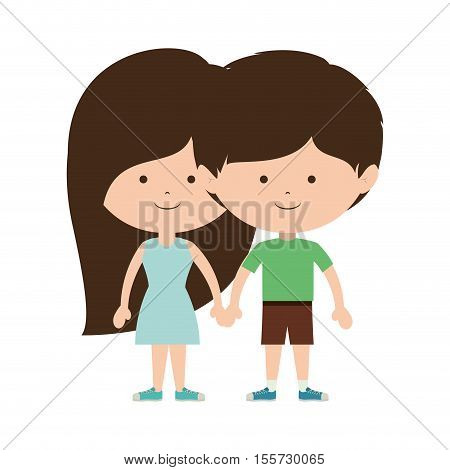 couple of children taken from the hand and dark brown hair vector illustration