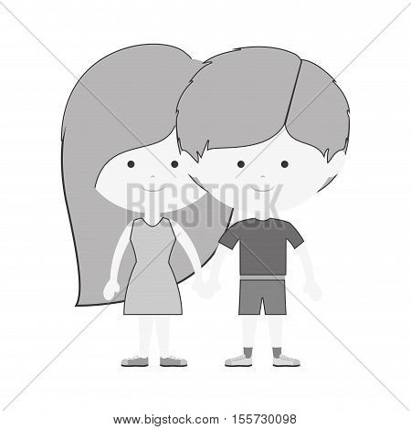 monochrome couple of children taken from the hand and dark brown hair vector illustration