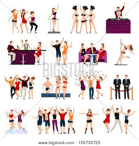 Dancing night club sexy girls strip show  and alcohol cocktails drinks flat icons collection isolated vector illustration