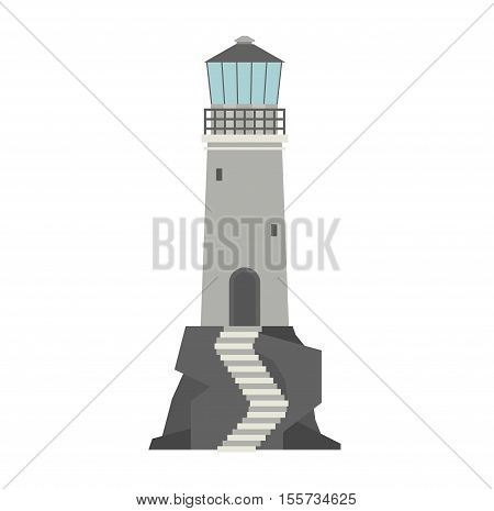 Vector cartoon flat lighthouses. Searchlight towers for maritime navigation guidance. Ocean beacon light vector tower lighthouse. Travel lighthouse water sailing signal navigation symbol.