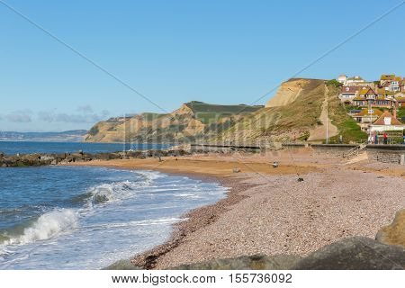 West Bay Dorset uk beach and coastal view to Golden Cap