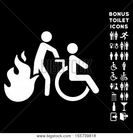 Fire Patient Evacuation icon and bonus male and lady restroom symbols. Vector illustration style is flat iconic symbols, white color, black background.