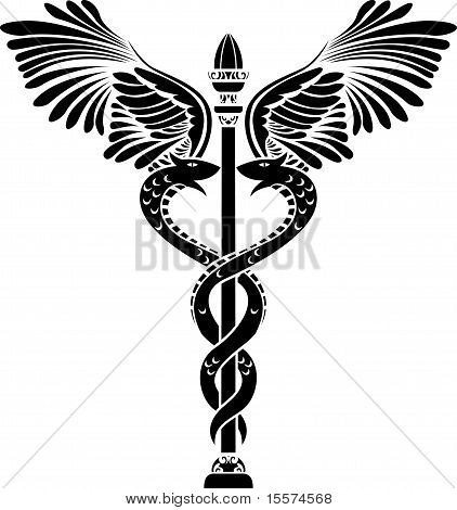 Medical symbol caduceus stencil