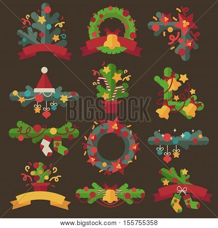Christmas wreaths with twigs or evergreen tree, ribbon bows and red berries for holiday decoration. Design for december celebration Xmas or New Year. Set of vector flat illustration isolated.