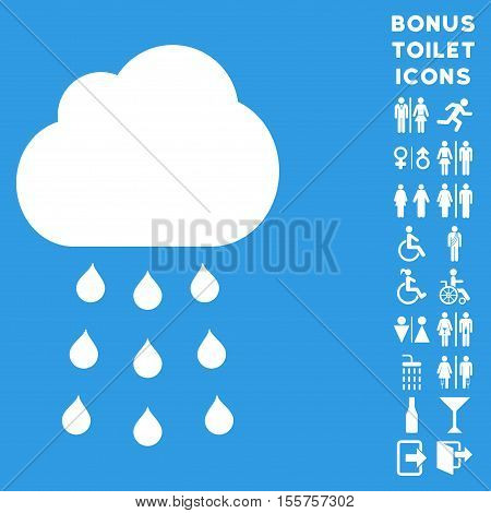 Rain Cloud icon and bonus male and lady restroom symbols. Vector illustration style is flat iconic symbols, white color, blue background.