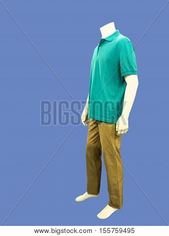 Male mannequin dressed in casual clothes isolated on blue background. No brand names or copyright objects.