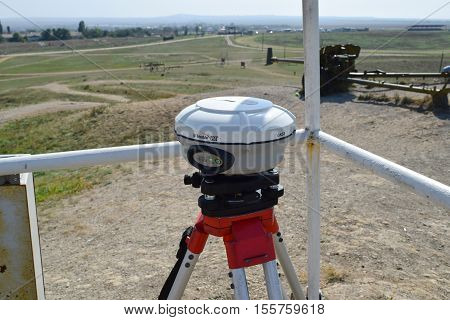Theodolite At Work. Application Of The Device For Measurement Of A Theodolite.
