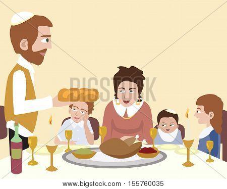 Kabbalat Shabbat, family dinner - vector cartoon illustration