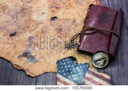 old world map for Columbus day, explore concept, USA