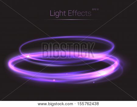 Abstract light effect on transparent background. Shining neon light glow or radiance, bokeh effect made of fast moving particle tail. May be used for light effect background for poster or brochure