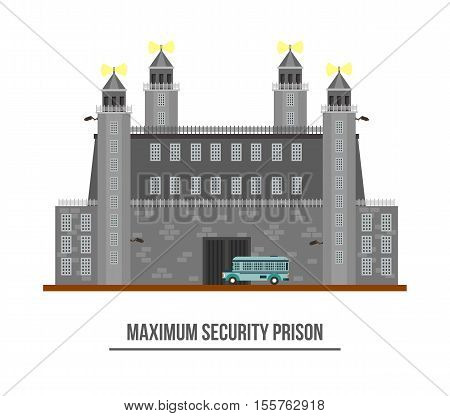 Prison exterior or jail building with towers and barbed wire. Maximum prison security with prisoner transport vehicle or car. Criminal jailhouse facade. Perfect for federal prison or arrest theme