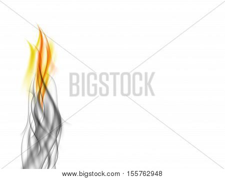 Abstract background with gray smoke absorb orange flames, fiery smoke on white, vector illustration