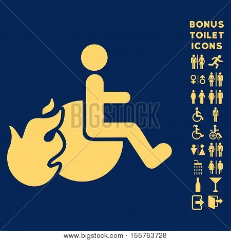 Fired Patient icon and bonus male and lady WC symbols. Vector illustration style is flat iconic symbols, yellow color, blue background.