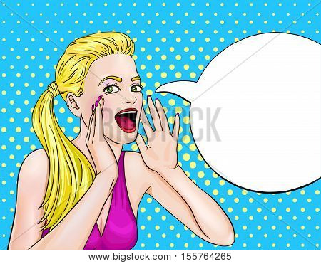 Screaming blonde woman pop art design with blank speech bubble on background with dot pattern vector illustration