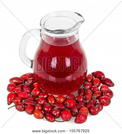 Brier berries and jug of drink isolated on white background.