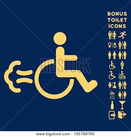 Patient Movement icon and bonus male and female restroom symbols. Vector illustration style is flat iconic symbols, yellow color, blue background.