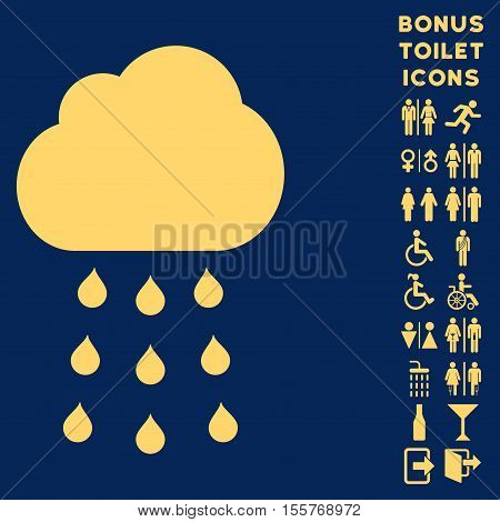 Rain Cloud icon and bonus gentleman and woman WC symbols. Vector illustration style is flat iconic symbols, yellow color, blue background.
