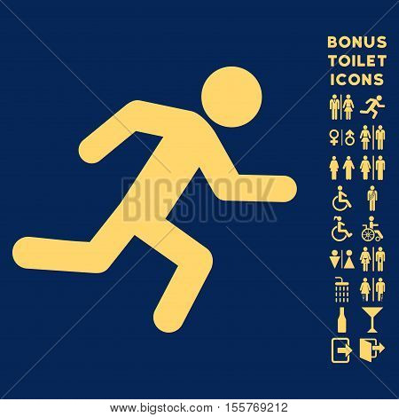 Running Man icon and bonus male and female WC symbols. Vector illustration style is flat iconic symbols, yellow color, blue background.