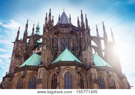 St. Vitus Cathedral in Prague, Czech Republic. Facade from the patio.